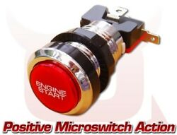 Red And Chrome Car Engine Push Press Start Starter Button Led Lit Momentary