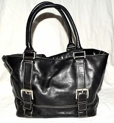 Michael Kors Black White Stitching Pebbled Thick Leather Buckle Design Tote Bag
