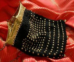Z) NEW HANDMADE BEADED BEAD ELEGANCE PERSONIFIED TRAPEZOID PURSE ANTIQUE FRAME