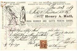Billhead - Henry A. Hall India Rubber And Gutta Percha - Us. Revenue Stamp, 1869