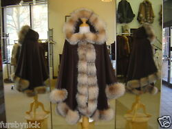 Chocolate Brown Hooded Cashmere Cape Crystal Fox Fur Trim Beautifully Canadian