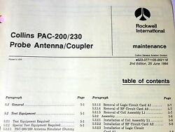 Collins Pac 200 And Pac-230 Probe Antenna/coupler Service Manual