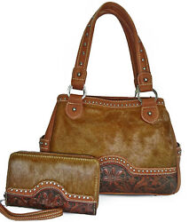 Trinity Ranch Floral Tooled & Hair on Hide Tote w Side Pockets + Wallet- Brown