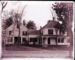 Antique Glass Negative Fc Philpot, Limerick Me. Great Old House And Barn, Dog