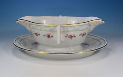 Kpm Kurland Celadon/gold With Scattered Roses Antique Sauceboat