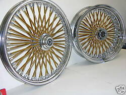 Dna Mammoth Fat 52 Gold Spoke Wheels 18x3.5 Front And Rear Touring Softail Harley