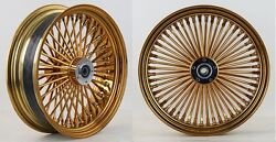 Dna Gold Mammoth 52 Fat Spoke Wheels 18x3.5 Front And Rear Harley Flst Softail
