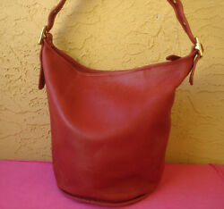Coach Made in USA Red Leather Duffle Sac Feed Bucket Bag Large 9085