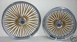 Dna Mammoth Fat 52 Gold Spoke Wheels 21x3.5 / 18x5.5 Touring Or Softail Harley