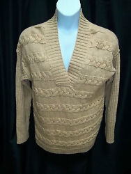 NWT WOMENS JONES NEW YORK CAMEL BROWN CABLE KNIT SWEATER SIZE L LARGE