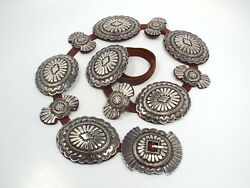 Vintage Taos Heavy Silver Concho Leather Belt, Signed H And Taos