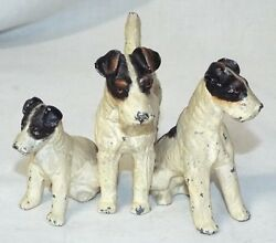 Old Antique AIREDALE TERRIER 3 DOG Miniature FIGURINE Mini COLD PAINTED SPELTER