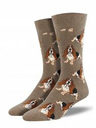 NEW Men's Crew Socks 🐶 HOUND DOG 🐶 Basset Hound Rock And Roll Blues Song