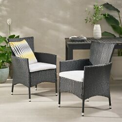 Curtis Outdoor Wicker Dining Chairs With Water Resistant Cushions - Set Of 2