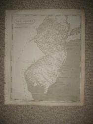 Early Antique 1805 New Jersey Arrowsmith And Lewis Copperplate Map Bergen County N