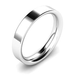 4mm Solid Sterling Silver Flat Court Easy Fit Shaped Wedding Ring Band