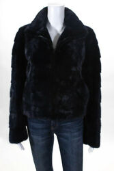 Michael Kors Dark Blue Dyed Mink Fur Collared Zip Front Coat Size Small