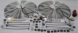 Dual 16 Chrome Electric S-blade Hd Cooling Radiator Fan + Thermostat Relay Kit