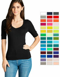 Women's Basic V-Neck Elbow Sleeve T-Shirt Short Sleeve Stretchy Top Reg