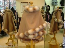 Fur Cape Camel Cashmere With Crystal Fox Trim Beautifully Canadian Label