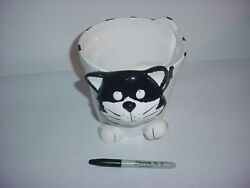 Black and White Ceramic Flower Pot  Planter Cat Figurine