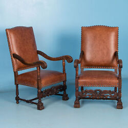 Exceptional Pair Of Antique Danish Leather Upholstered Armchairs