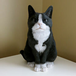 BLACK WHITE CAT SITTING FIGURINE KITTEN11.5 in.T animal farm resin ORNAMENT NEW