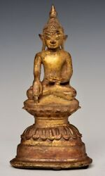 16th Century Shan Antique Burmese Bronze Seated Buddha With Gilded Gold