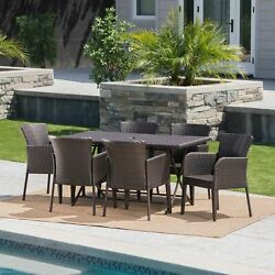 Killion Outdoor 7 Piece Multi-brown Wicker Dining Set With Foldable Table