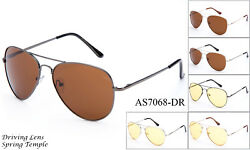 Driving Sunglasses Daytime Night Vision Glasses Aviator Style UV400 Spring Hinge $9.95