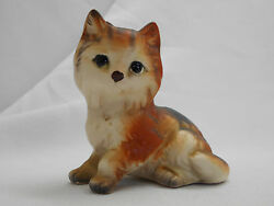 cat figurines ceramic long hair orange and white and black