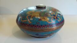 19th C. Chinese Cloisonne On Copper 11.25 Foo Dog Box, Jade Insert
