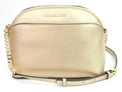Michael Kors Emmy Pale Gold Leather Chain Cross Body Bag Small Handbag