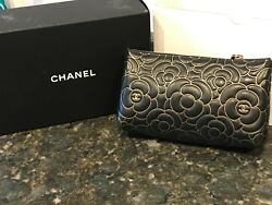 CHANEL Camellia Embossed Cosmetic O-Case Black w Gold NWT bag pouch woc clutch