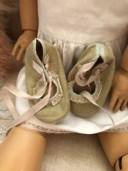 Antique Vintage Christening Baby Shoes Ribbons Adorable Antique Bebe Doll