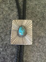 Sterling Silver And Bisbee Turquoise Bolo Tie By Billy Jaramillo