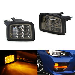 Smoked Lens Full Amber 12-led Front Turn Signal Lamp Assy For 2015-up Subaru Wrx