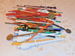 85- Vintage Very Old Swizzle Stick Lot Hotel Airline And Misc.