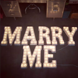 Will You Marry Me Plug-in Rustic Metal Wedding Prop Love Light Up Marquee Sign