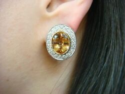 18k White Gold Earrings With 11 Ct Precious Yellow Topaz And 1.20 Ct Vs Diamonds