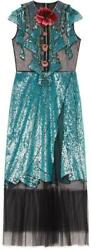 GUCCI BLUE EMBROIDERED TULLE DRESS 421694 ZGK16 1969