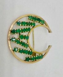 Vintage 14k Yellow Gold Antique Faux Emerald Green Glass Crescent Moon Pin