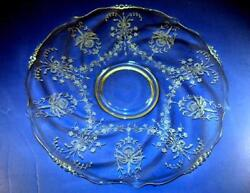Heisey Elegant Glass Orchid Etched 14 Torte Plate Cake Platter