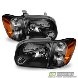 For Blk 2005-2006 Toyota Tundra 2007 Sequoia Headlights Corner Lamps Left+right