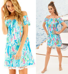 NWT Lilly Pulitzer Marble Beach And Bae Sunglow Sailboat Off Shoulder Dress $142.20