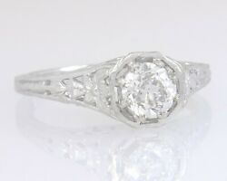 Antique .61ct Gia Certified Diamond 14k Gold Flowers Art Deco Engagement Ring