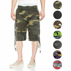 Menand039s Tactical Combat Military Army Cotton Twill Camo Cargo Shorts With Belt