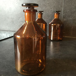 32245 Antique Glass Apothecary Jar, Pharmacy Bottle. Amber Brown Set Of 3 French