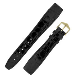 Hirsch Genuine Croco Open-ended Fixed Bar Crocodile Leather Watch Strap In Black