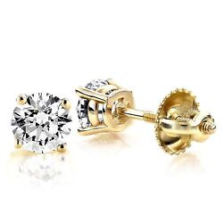 1ct Round Cut Stud Solitaire Earrings Gift Solid 14k Yellow Gold Screw Back